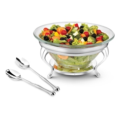 Newbridge Silverware Silver and Chrome Plated Salad Bowl & Servers