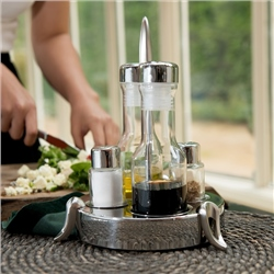Stainless Steel Salt Pepper Oil and Vinegar set by Newbridge Silverware