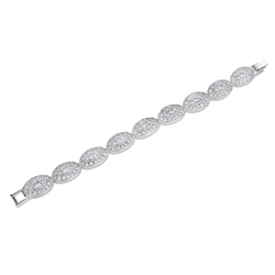 Newbridge Silverware Oval Bracelet with Clear Stones