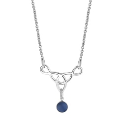 Newbridge Silverware Celtic Pendant with Blue Stone