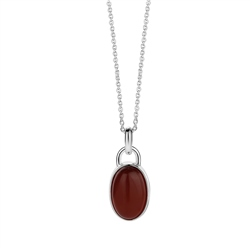 Newbridge Silverware Oval Pendant with Brown Stone