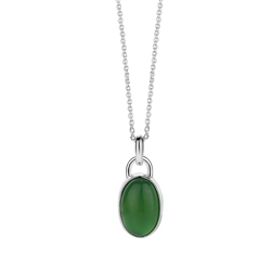 Newbridge Silverware Oval Pendant with Green Stone