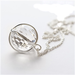 Newbridge Silverware Sphere Pendant with Clear Stone