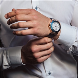 Gents Watch with Blue Leather Strap