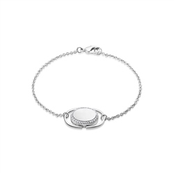 Newbridge Silverware Locket Bracelet with Clear Stones