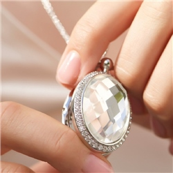 Newbridge Silverware Locket with Large Clear Stone