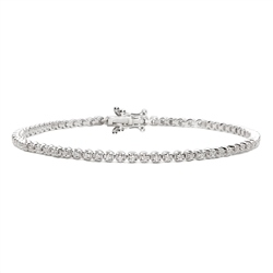 Newbridge Silverware 18ct White Gold Diamond Tennis Bracelet - 1.00ct
