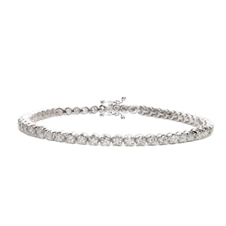 Newbridge Silverware 18ct White Gold Diamond Tennis Bracelet - 3.00ct