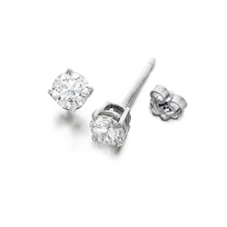 Newbridge Silverware 18ct White Gold Diamond Earrings 4 claw 0.15ct tw