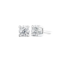 Newbridge Silverware 18ct White Gold Diamond Earrings 4 claw 0.50ct tw