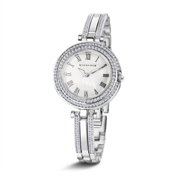 Ladies Silverplated Watch Clear Stones bracelet