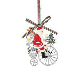Santa on Penny Farthing Bicycle by Newbridge Silverware