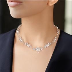 Newbridge Silverware Cluster Floral Necklace with Clear Stones