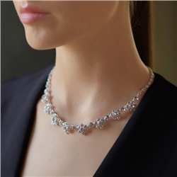 Newbridge Silverware Floral Necklace with Clear Stones