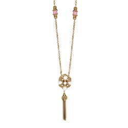 Newbridge Silverware Ornate Long Necklace with Pearl & Pink Stones