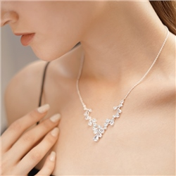 Newbridge Silverware Petal Necklace with Clear Stones