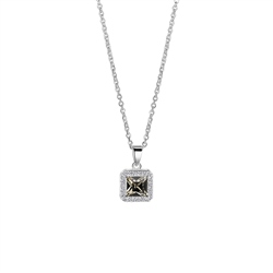 Newbridge Silverware Square Pendant with Clear and Black Stone Setting