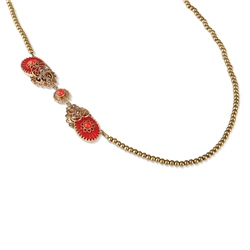 Vintage Ornate Resin Necklace with Red Stones