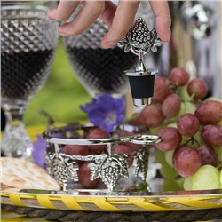 Silver Plated Grape Coaster and Stopper Set