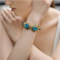 Newbridge Silverware Antique Gold Plated Bracelet with Blue Stones