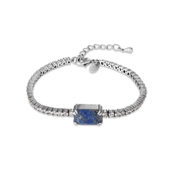 Antique Silver Plated Bracelet Blue & Clear Stone