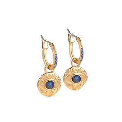 Newbridge Silverware All Seeing Evil Eye Earrings Blue Stone