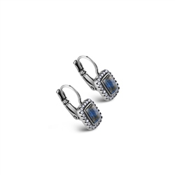 Newbridge Silverware Antique Silver Plated Earrings Blue & Clear stone
