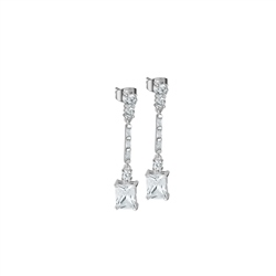 Newbridge Silverware Square Drop Earrings with Clear Stones