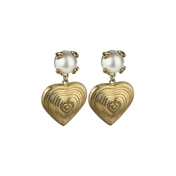 Vintage Heart Earrings with Pearl Stone Settings