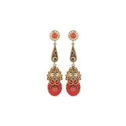Vintage Ornate Resin Earrings with Red Stones