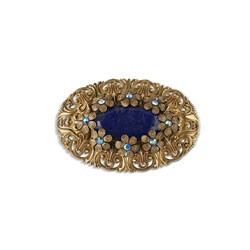 Newbridge Silverware Oval Brooch with Blue stones