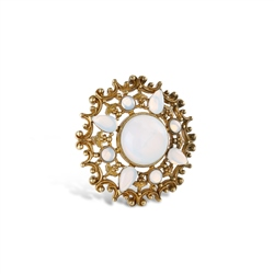 Newbridge Silverware Round Brooch with Opal Coloured Stone Settings