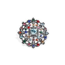 Vintage Brooch with Coloured Stones