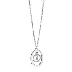 Newbridge Silverware Dew Drop Oval Pendant with Clear Stone