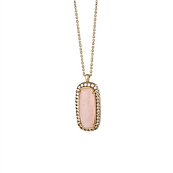 Newbridge Silverware Rectangular Pendant with Pink and Clear Stones
