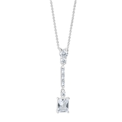 Newbridge Silverware Square Drop Pendant with Clear Stones