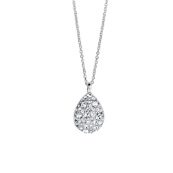 Newbridge Silverware Teardrop Pendant with Clear Stones