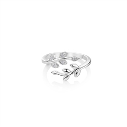 Newbridge Silverware Leaf Ring with Clear Stones