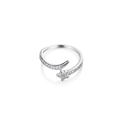 Newbridge Silverware Star Ring Clear with Stones