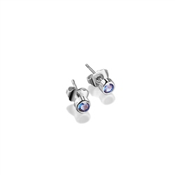 Newbridge Silverware Stud Earrings with Blue Stone Settings