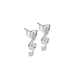 Newbridge Silverware Treble Clef Earrings with Clear Stones