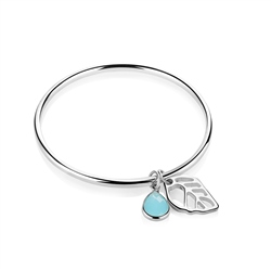 Newbridge Silverware Leaf Bangle with Blue stone