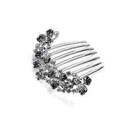 Newbridge Silverware Hair Accessory with Black and Clear Stones