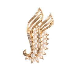 Trifari Baguette & Crystal Brooch with Faux Pearls