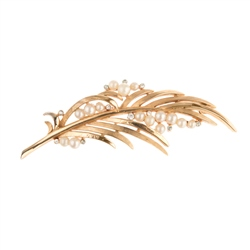 Trifari Crown Faux Pearl and Crystal Leaf Brooch