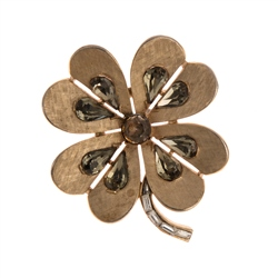 Vintage Trifari Crown 4 Leaf Clover Pin