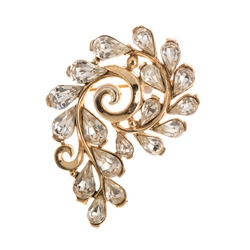 Vintage Trifari Crown Gold and Crystal Brooch