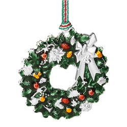 Christmas Wreath with Bow Hanging Decoration by Newbridge Silverware