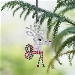 Reindeer with Bow Hanging Decoration