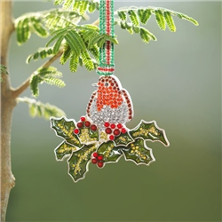 Robin on Holly Hanging Decoration